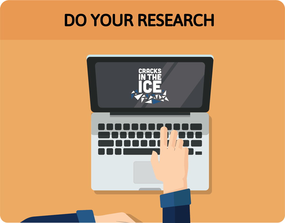 "Cartoon image titled ""Do your research"" showing hand pointing to Cracks in the Ice logo on laptop screen"