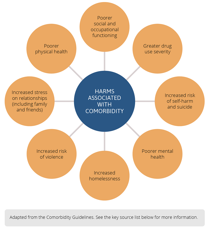 Infographic showing harms associated with comorbidity, including greater drug use severity, increased risk of self-harm and suicide, poorer mental health, increased homelessness, increased risk of violence, increased stress on relationships, poorer physical health, poorer social and occupational functioning. The infographic has been adapted from the Comorbidity Guidelines. Refer to the key source list below for more information