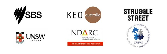 Our partners and sponsors SBS, KEO Australia, Struggle Street, UNSW Sydney, National Drug and Alcohol Research Centre, Centre of Research Excellence in Mental Health and Substance Use